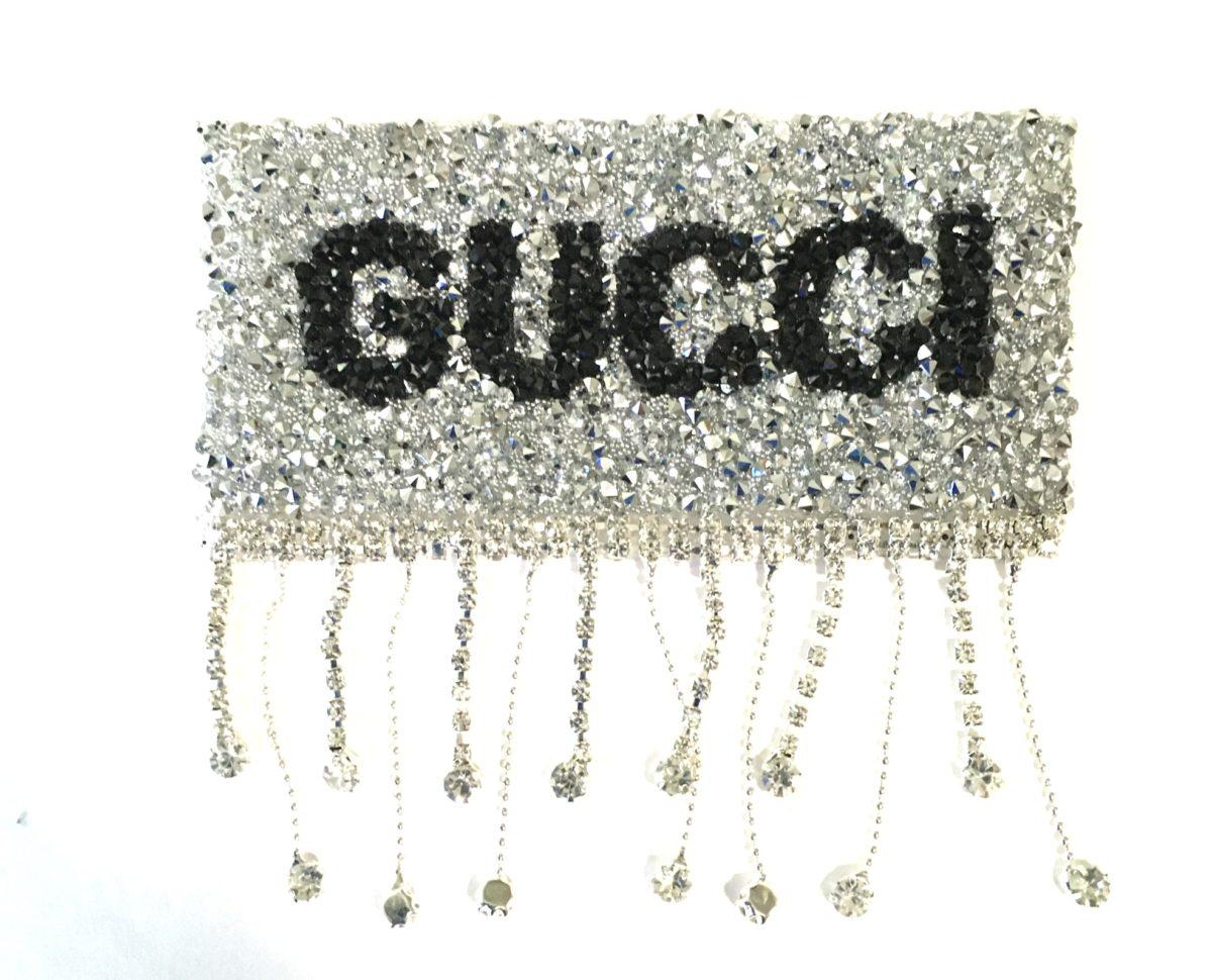 NEW Rhinestone Gucci Patch, Dangle Iron On Hotfix Patch 2