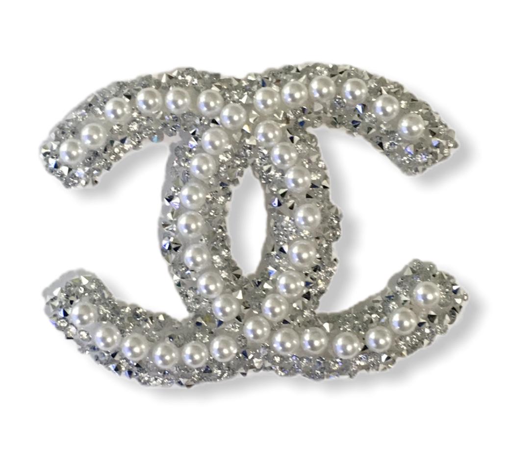 New Chanel Rhinestone Faux Pearl Emblem, Hotfix, Iron On 1
