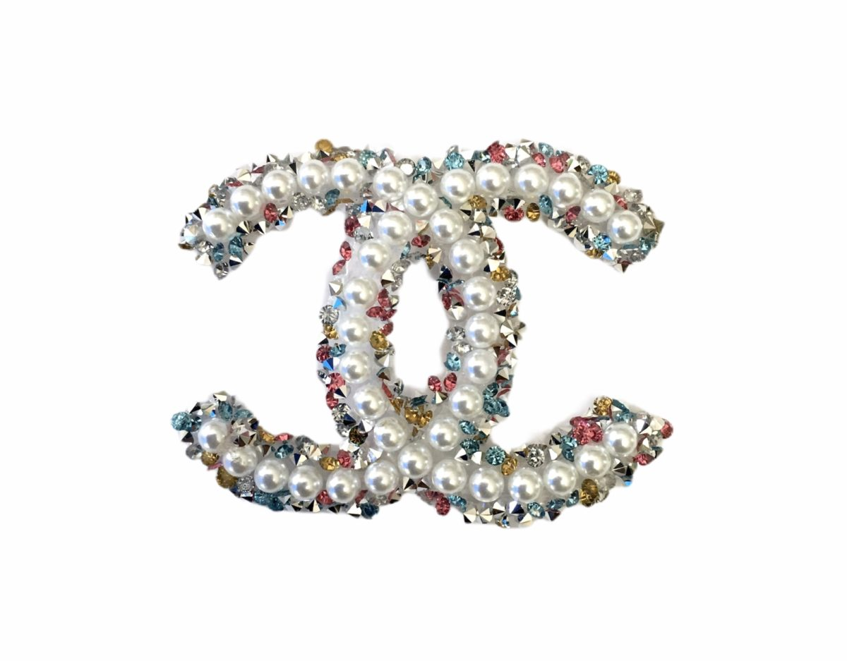 New Chanel Multi Color Inspired Beaded Emblem, Hotfix Iron On Patch 1