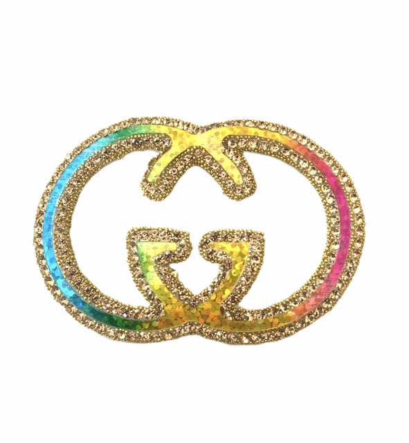 New Gucci Rhinestone Iron on Emblem Patch, Colorful Bling 1