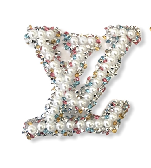 New LV Inspired Faux Pearl Emblem, Hotfix Iron On Patch 1