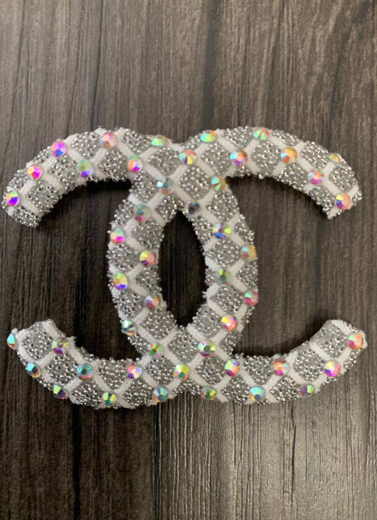New Chanel Rhinestone Iron on Emblem Patch 2