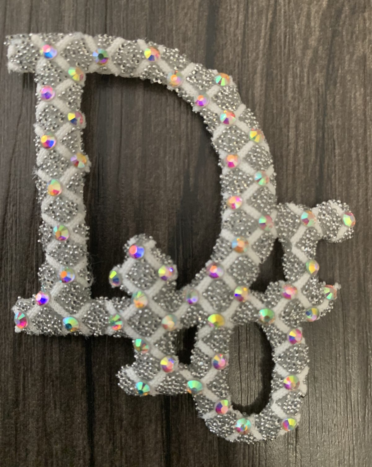 New Dior Rhinestone Iron on Emblem Patch 1
