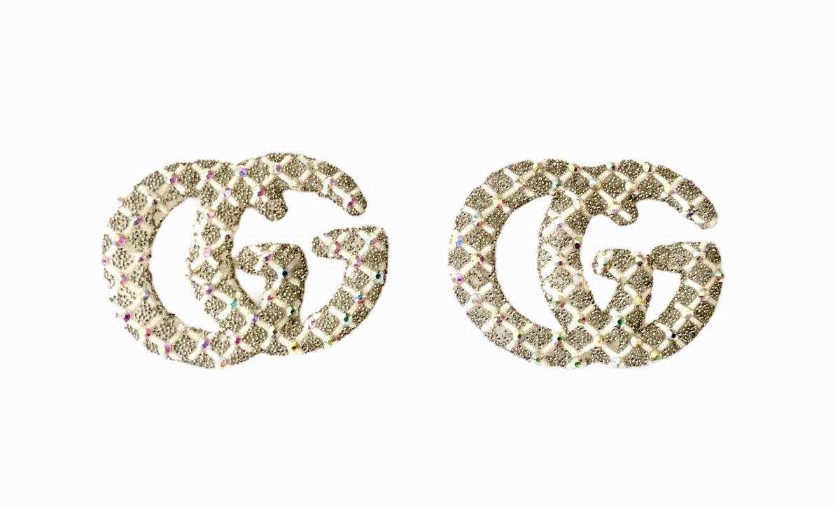 New Gucci Rhinestone Iron on Emblem Patch 3