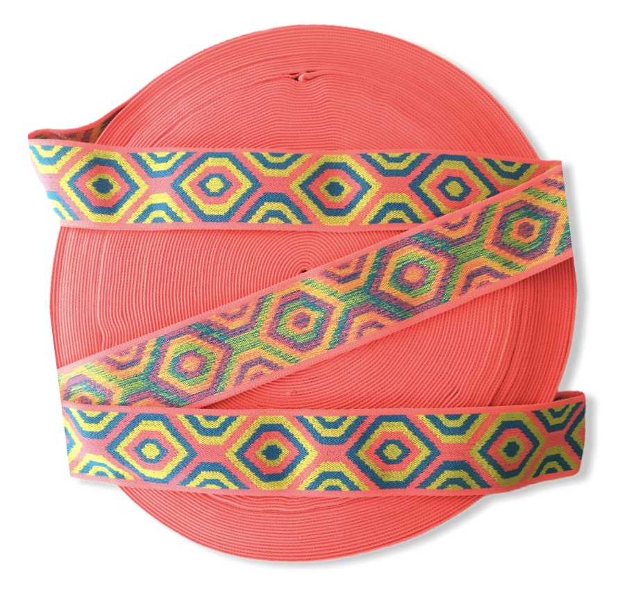 "Beautiful Aztec Inspired Colorful Elastic Trim 2"" 1"