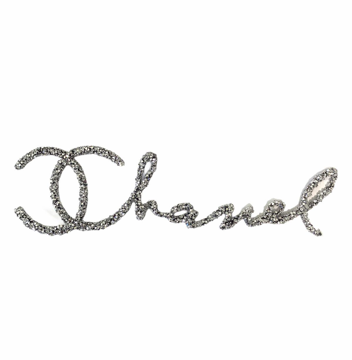 New Chanel Rhinestone Iron on Emblem Patch (Silver) 1