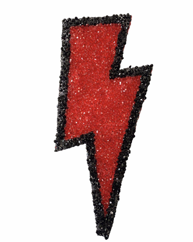 New Lightning Hotfix Patch, Iron On, Lightning Bolt Bling Patch 1