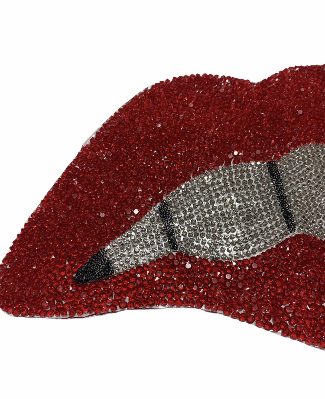 Bling Lip Patch Rhinestone Patch Silver Lip lip Iron On,